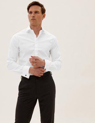 Slim Fit Cotton Stretch Textured Shirt