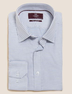Tailored Fit Cotton Stretch Check Shirt
