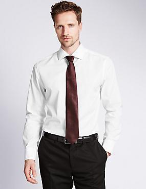 Pure Cotton Slim Fit Woven Shirt, WHITE, catlanding