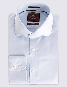 Pure Cotton Easy to Iron Regular Fit Shirt, SKY, catlanding