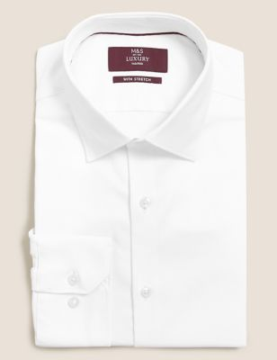 Tailored Fit Cotton Stretch Twill Shirt