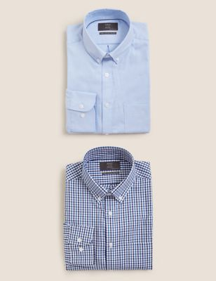 2 Pack Regular Fit Cotton Oxford Shirts