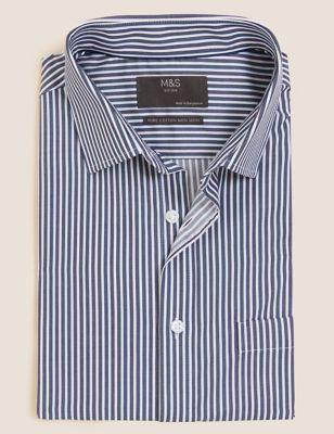 Regular Fit Pure Cotton Striped Short Sleeve Shirt