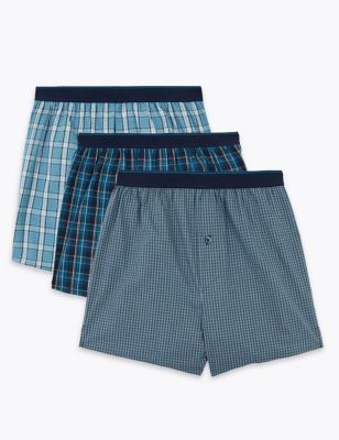 3pk Pure Cotton Checked Woven Boxers