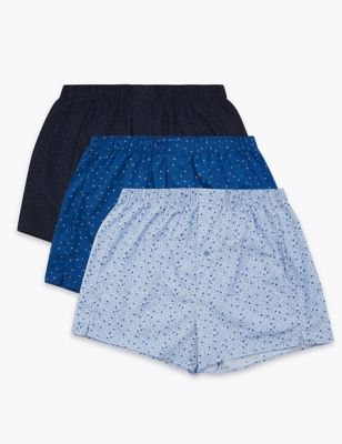 3pk Pure Cotton Printed Woven Boxers
