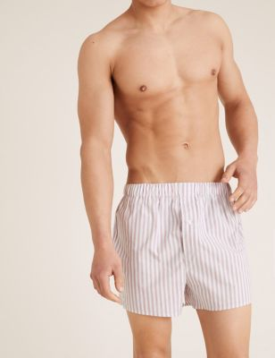3pk Pure Cotton Striped Woven Boxers