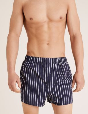 3 Pack Pure Cotton Striped Woven Boxers