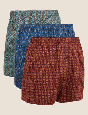 3pk Pure Cotton Pattern Woven Boxers