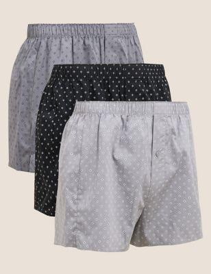 3pk Pure Cotton Geometric Woven Boxers