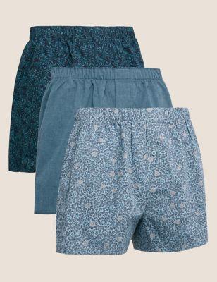 3pk Pure Cotton Printed Woven Boxers