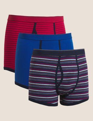 3pk Cotton Cool & Fresh™ Striped Trunks