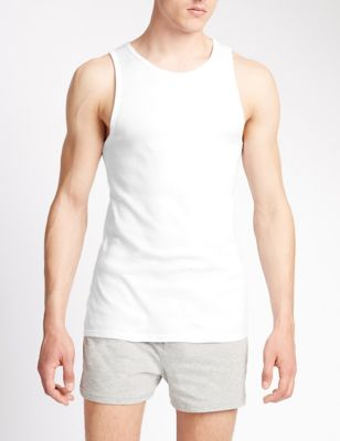 3pk Pure Cotton Sleeveless Vests