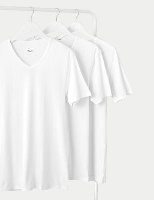 3pk Pure Cotton V-Neck T-Shirt Vests