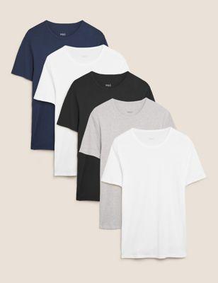 5pk Pure Cotton T-Shirt Vests