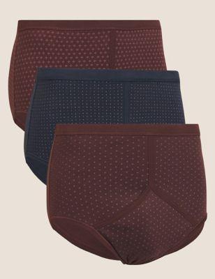 3pk Pure Cotton Geometric Print Briefs