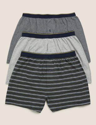 3pk Pure Cotton Striped Jersey Boxers