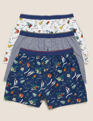 3pk Pure Cotton Jersey Hawaiian Boxers