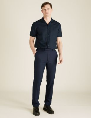 Tailored Fit Wool Textured Trousers