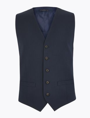 Navy Tailored Fit Waistcoat with Stretch