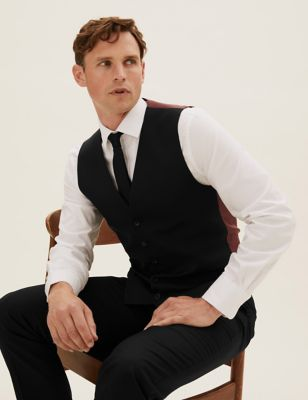 Black Tailored Fit Waistcoat with Stretch
