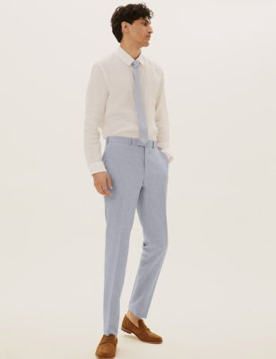 Skinny Fit Flat Front Trousers with Stretch