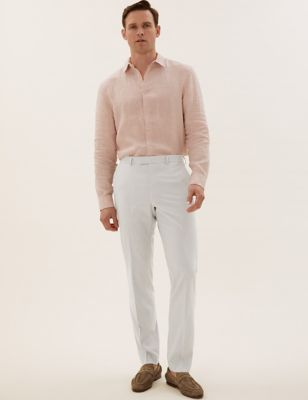 Pastel Tailored Fit Trousers with Stretch