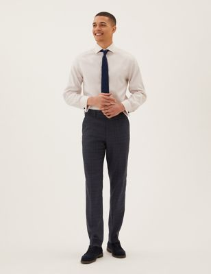 Regular Fit Stretch Check Trousers