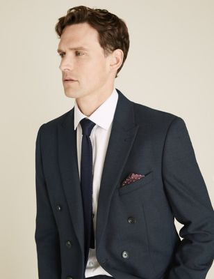 Navy Tailored Fit Double Breasted Jacket