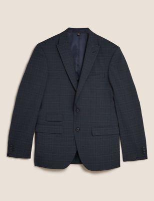Blue Brown Slim Fit Check Jacket