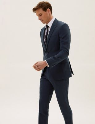 The Ultimate Navy Slim Fit Wool Pinstripe Jacket