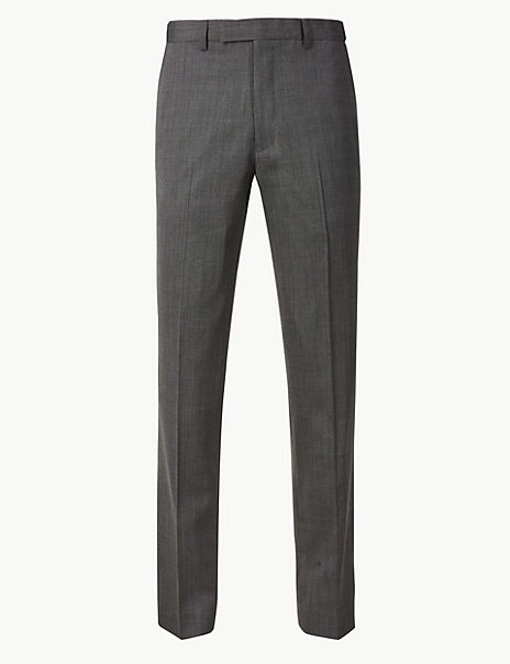 Big & Tall Grey Textured Tailored Fit Trousers