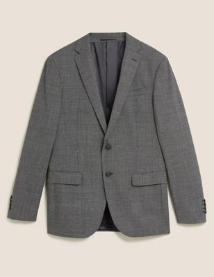 Grey Tailored Fit Wool Puppytooth Jacket