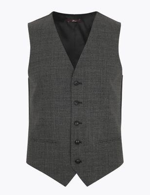 Grey Regular Fit Wool Puppytooth Waistcoat