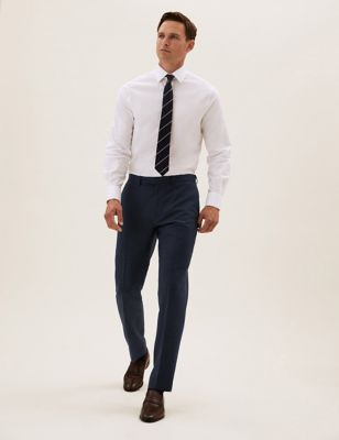 Navy Tailored Fit Wool Textured Trousers