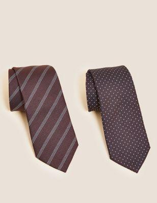 2 Pack Slim Textured Printed Ties