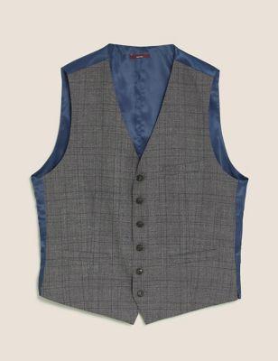 Charcoal Checked Wool Waistcoat