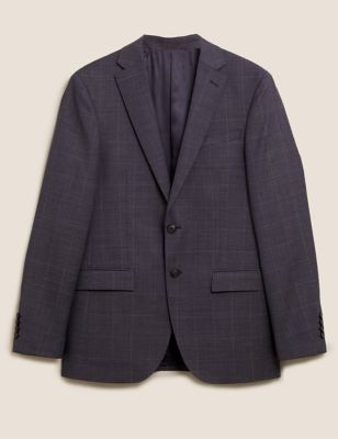 Tailored Fit Pure Wool Check Jacket
