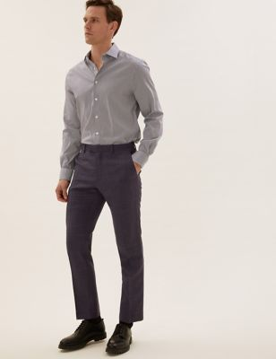 Tailored Fit Pure Wool Check Trousers