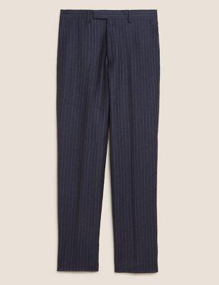 Navy Chalk Stripe Wool Tailored Trousers