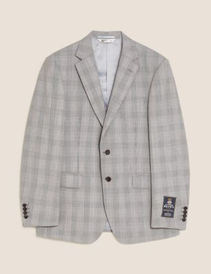 Checked Tailored Fit Wool Jacket
