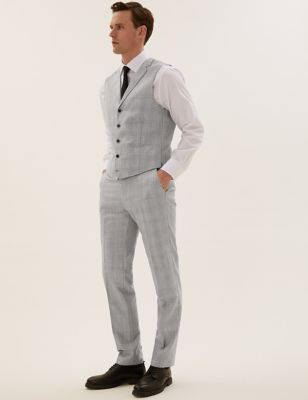 Tailored Fit Wool Check Waistcoat