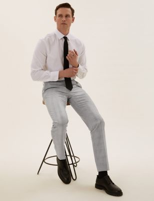Tailored Wool Checked Trousers