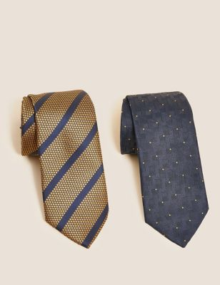 2 Pack Slim Striped and Spotted Ties