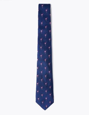 Woven Flamingo Pure Silk Tie