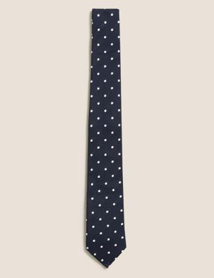 Textured Polka Dot Pure Silk Tie