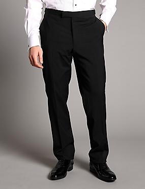 Black Tailored Fit Wool Rich Trousers, BLACK, catlanding
