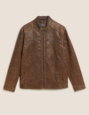 Leather Double Collar Biker Jacket