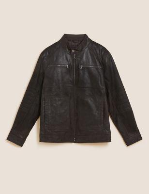 Leather Double Collar Utility Jacket
