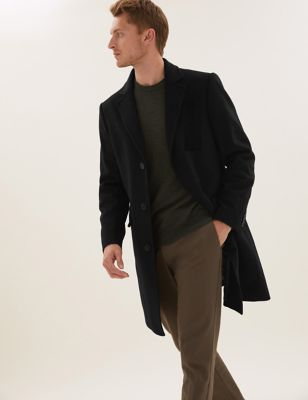 Italian Wool Revere Overcoat with Cashmere