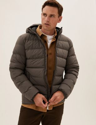 Hooded Feather and Down Puffer Jacket